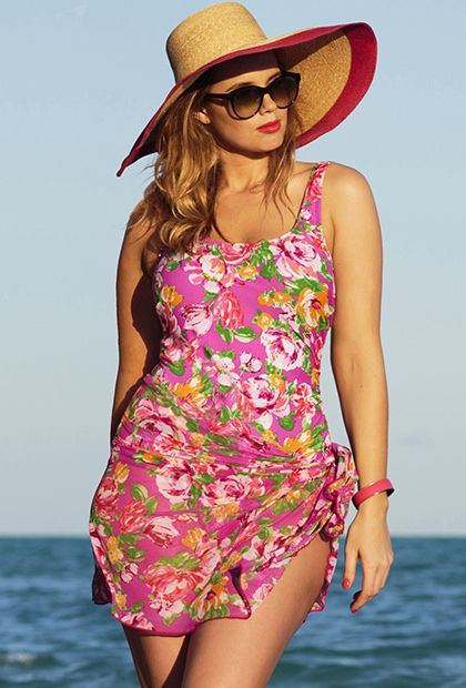 4cb4f2bb23 Beach Belle Pink Floral Plus Size One Piece with Matching Mesh Sarong - 90s  pool party!