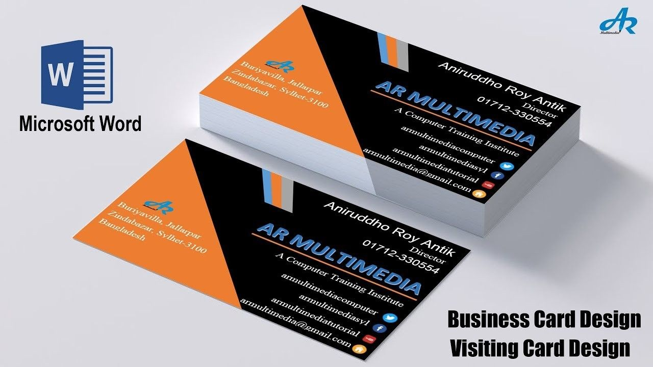 Create Business Card Template In Word Creative Atoms Throughout Business Card T Create Business Cards Professional Business Card Design Business Card Wording
