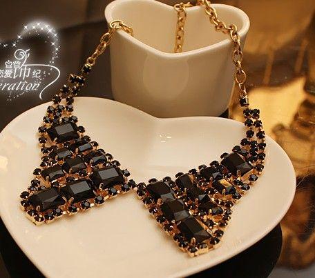 Lady black Crystal Collar Necklace