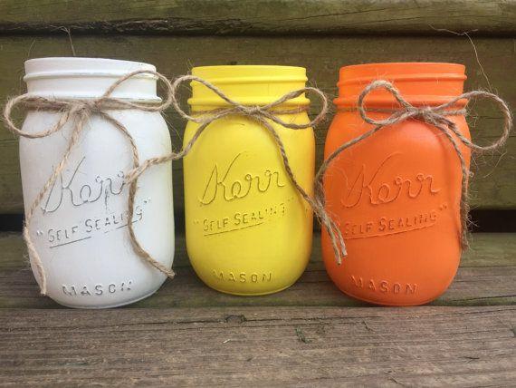 Halloween, Candy Corn, Candy Corn Mason Jars, Halloween Mason Jars