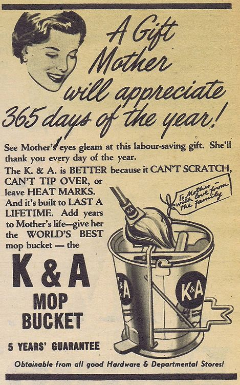 K&A mop bucket for mother | Retro Posters & Ads | Funny