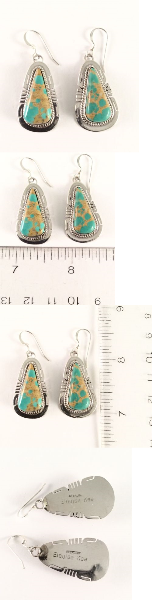 Earrings 98497: Sterling Silver Navajo Indian Native American Boulder Turquoise Earrings. Signed -> BUY IT NOW ONLY: $117.0 on eBay!
