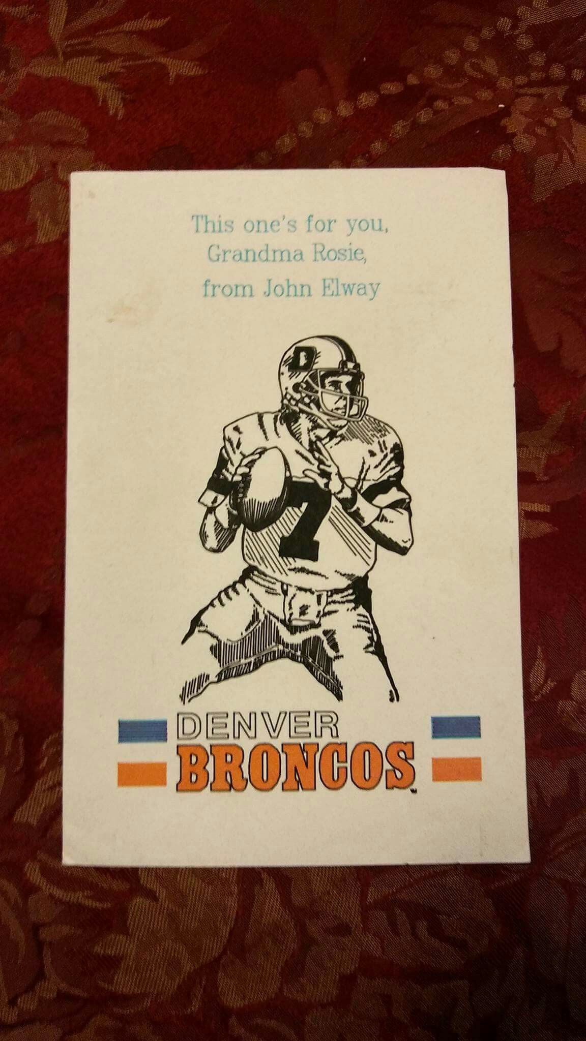 Personalized Greeting Card From John Elway And The Denver Broncos