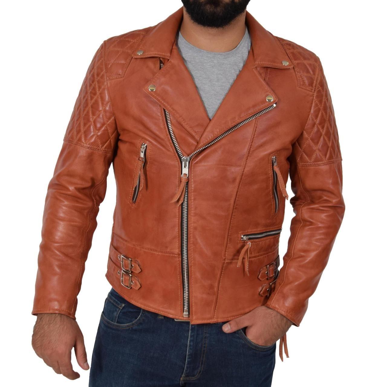 Mens Cross Zip Biker Leather Jacket Cognac Tan, Fashion
