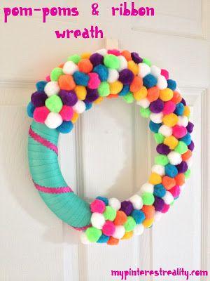 Photo of Pom-pom & ribbon wreath for the kids