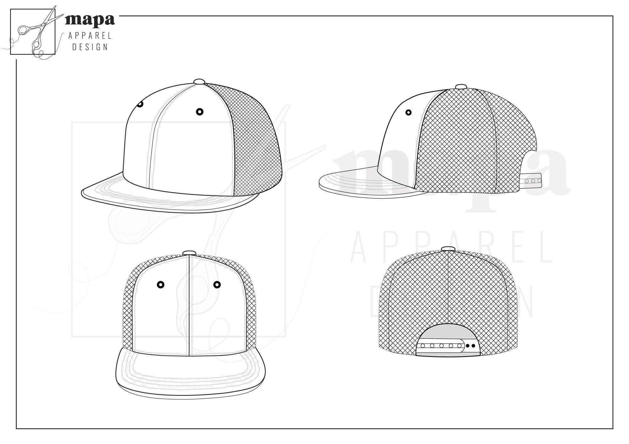 Trucker Hat Flat Fashion Template Etsy Fashion Flats Fashion Templates Trucker Hat