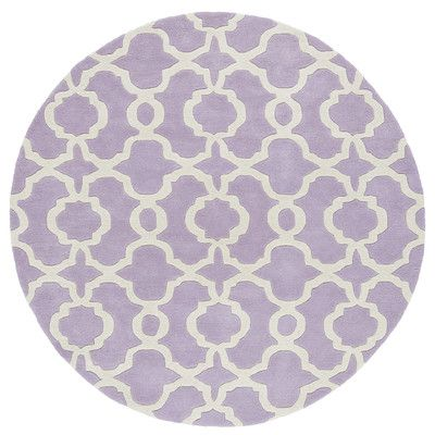"Mercury Row Brann Hand-Tufted Lilac / Ivory Area Rug Rug Size: Round 3'9"""