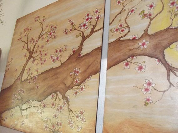 Cherry Blossom Wood Burning Painting Wall Art Etsy Etsy Wall Art Wall Painting Cherry Blossom