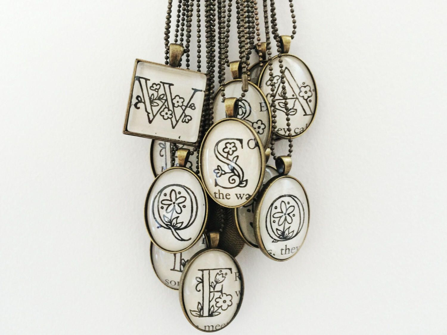Monogram pendant initial necklace personalized jewelry