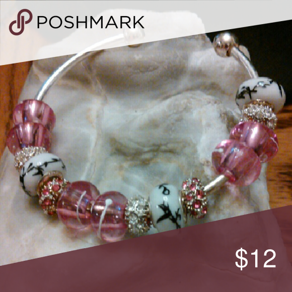 Stainless Steel Screw Cuff w/Pink Crystals Chinese Beads Pink/Silver Crystals by Leisa Honeylambjewelry Jewelry Bracelets