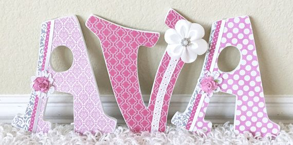 Custom Pink and White Nursery Letters, Girl Nursery Decor, Personalized Baby…