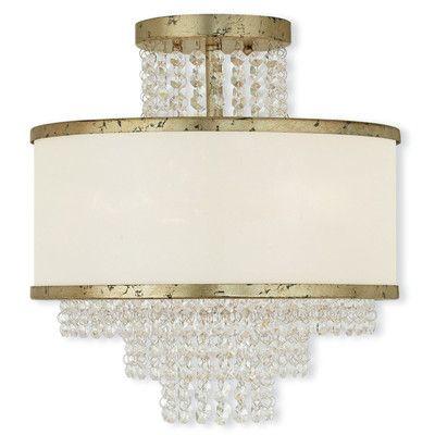 House of Hampton Mac 3 Light Semi-Flush Mount Finish: Gold