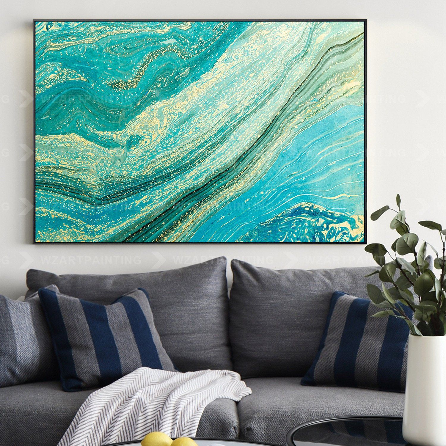Abstract Wave Green Blue Acrylic Print On Canvas Painting Wall Art Pictures Framed For Living Room Home Decor Quadros Caudros Ready To Hang In 2020 Wall Art Canvas Painting Abstract Waves