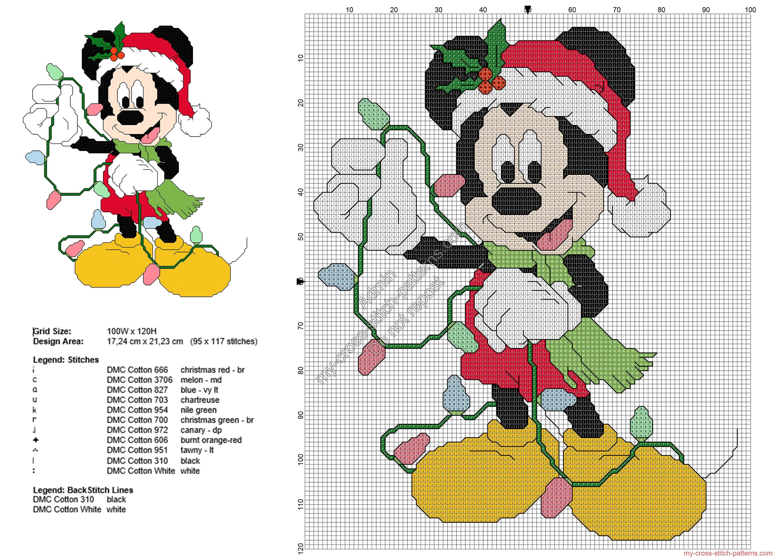 Disney Cross Stitch Christmas Stocking Patterns.Mickey Mouse With Christmas Lights Free Cross Stitch Pattern