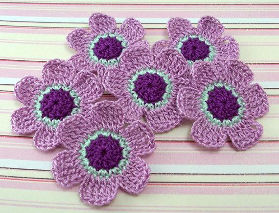Crochet 6 Petal Flower Appliques By Finethreads On Etsy 270