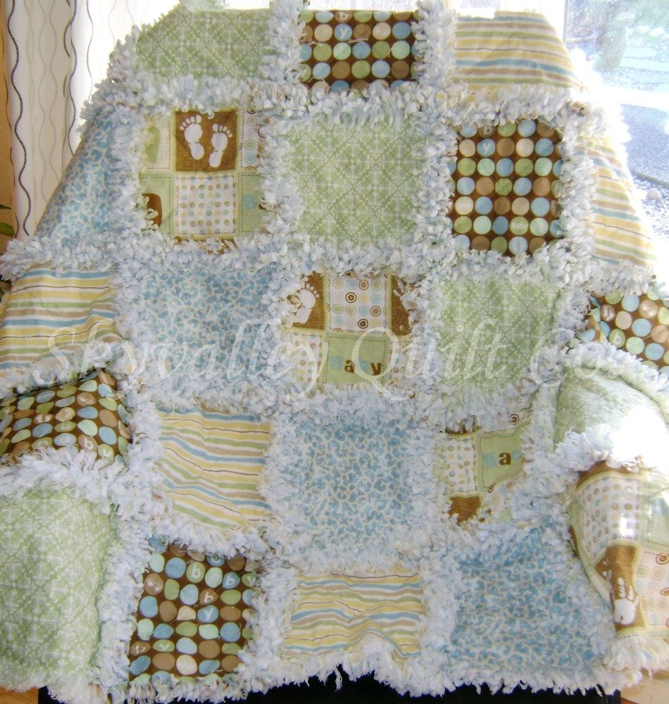 Baby boy rag quilt  OH Baby in blue green brown by skyvalleyquiltco on Etsy https://www.etsy.com/listing/124111139/baby-boy-rag-quilt-oh-baby-in-blue-green
