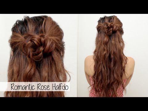 Cute Holiday Hairstyle For Medium Long Hair L Braided Flower Rose Half Up Half Down Hair Tutorial Hair Tutorials For Medium Hair Medium Long Hair Half Up Hair