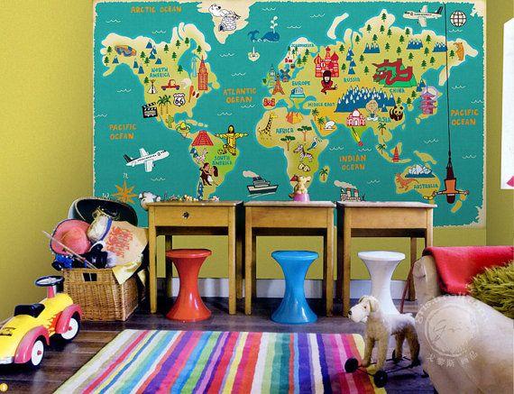Carte du monde pour toutes les tailles enfants par DreamyWall