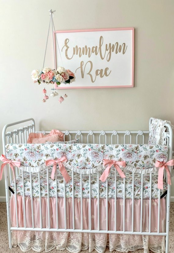 Girls Farmhouse Crib Bedding Set Blush Pink And White Baby Girl