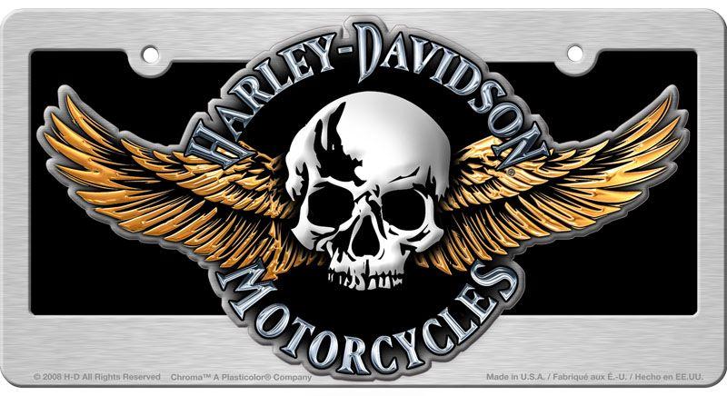 Harley davidson winged skull license plate harley
