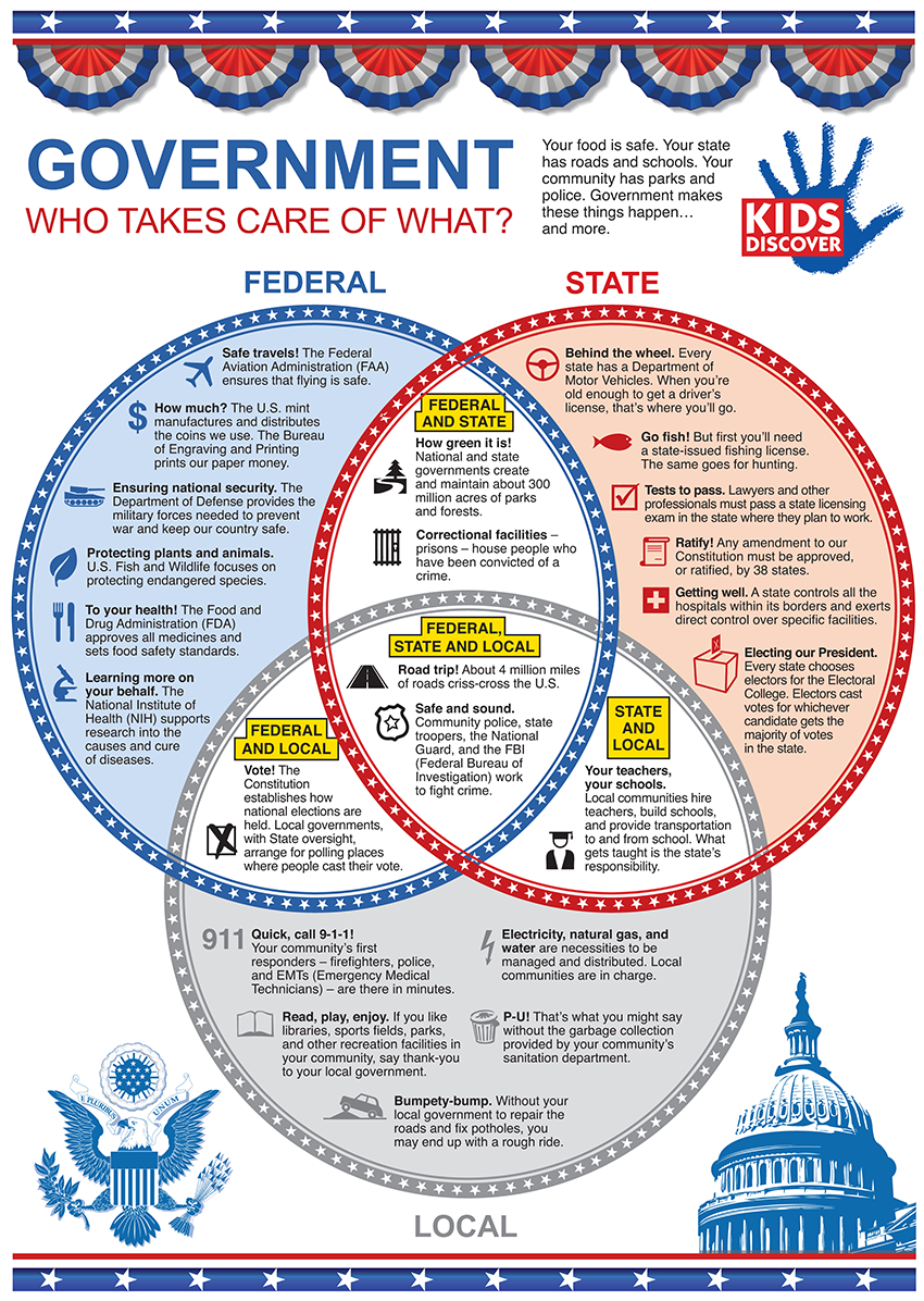This infograpic highlights the 3 main branches of the us terrific infographic on our government who takes care of what a venn diagram for our government great for social studies pooptronica