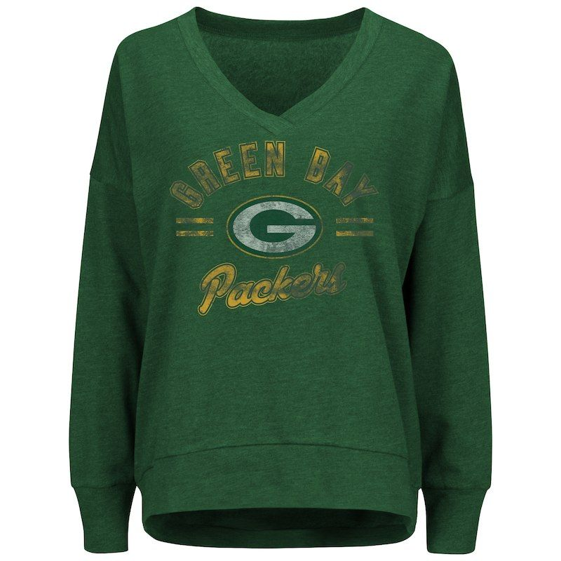 Women s Majestic Green Green Bay Packers Great Play V-Neck Sweatshirt 6884d97f9