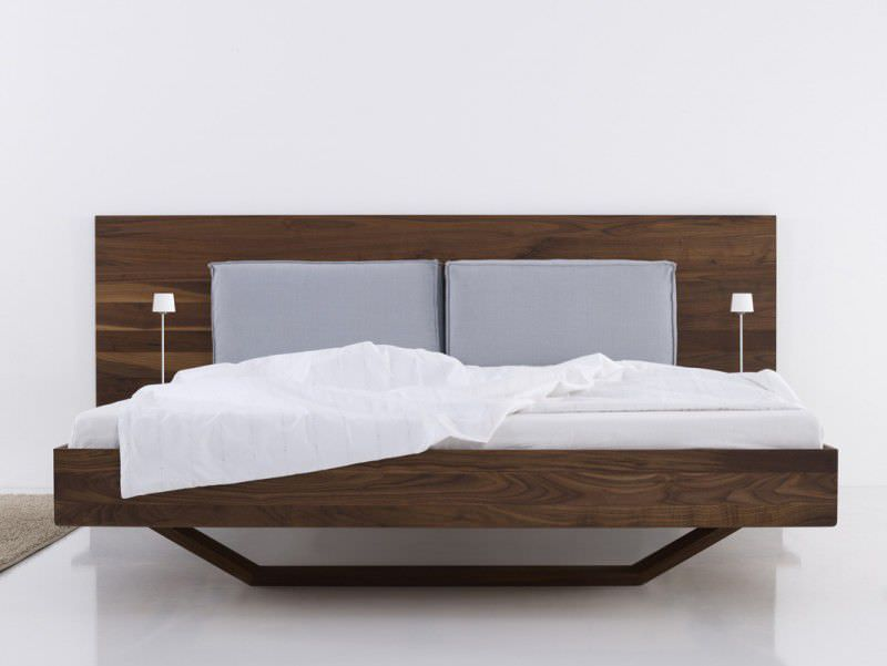 Double Bed Contemporary With Upholstered Headboard In Wood B15 By Bernhard Müller