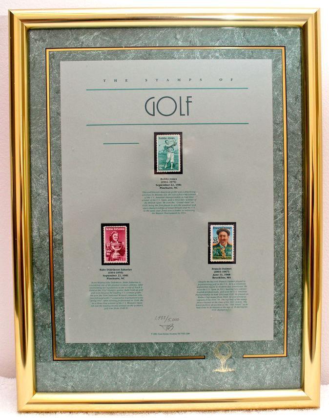 Framed Art Piece of Vintage Golf Stamps Limited Edition 1998/5000 ...