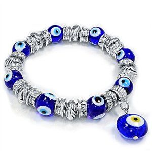 Blue Evil Eye Glass Beads Bracelet and Rhinestone, Ring Spacers with 15mm Evil eye dangle - Jewelry For Her