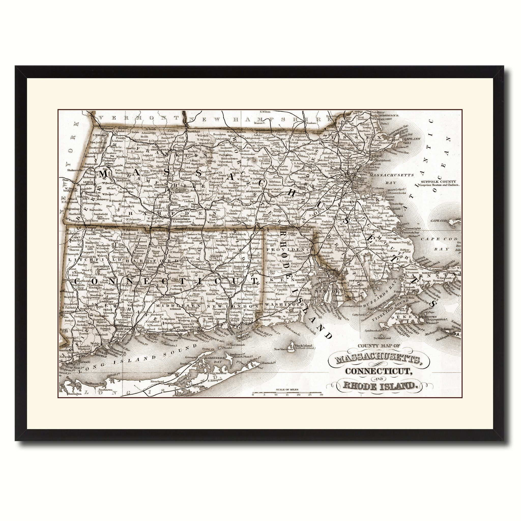 Massachusetts Connecticut Rhode Island Vintage Sepia Map Canvas Print, Picture