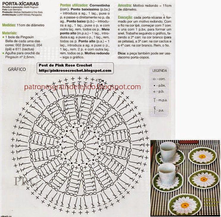 Posavasos con centro de margaritas - crochet con patrones | Crochet ...