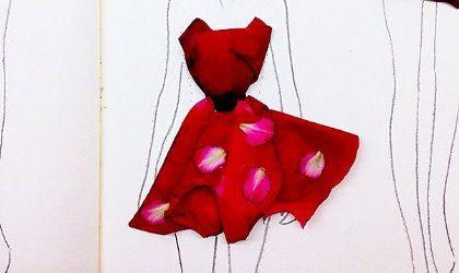 Bocetos de moda echos con pétalos de flores (Fotos)