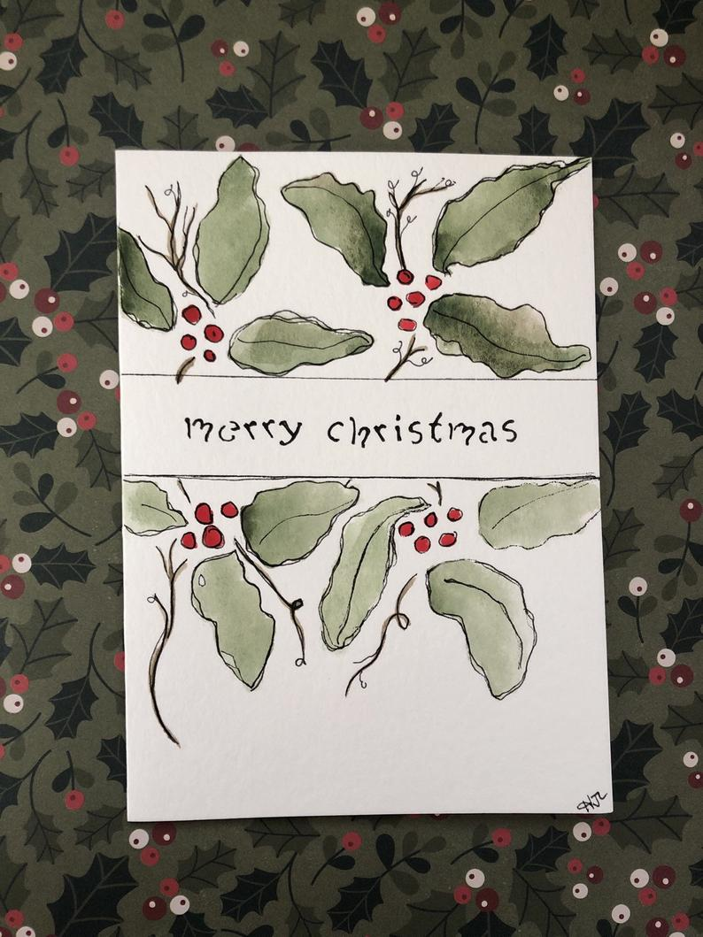 Watercolor Christmas Card, Handmade Christmas Card, Watercolor Holly Card, Merry Christmas Card