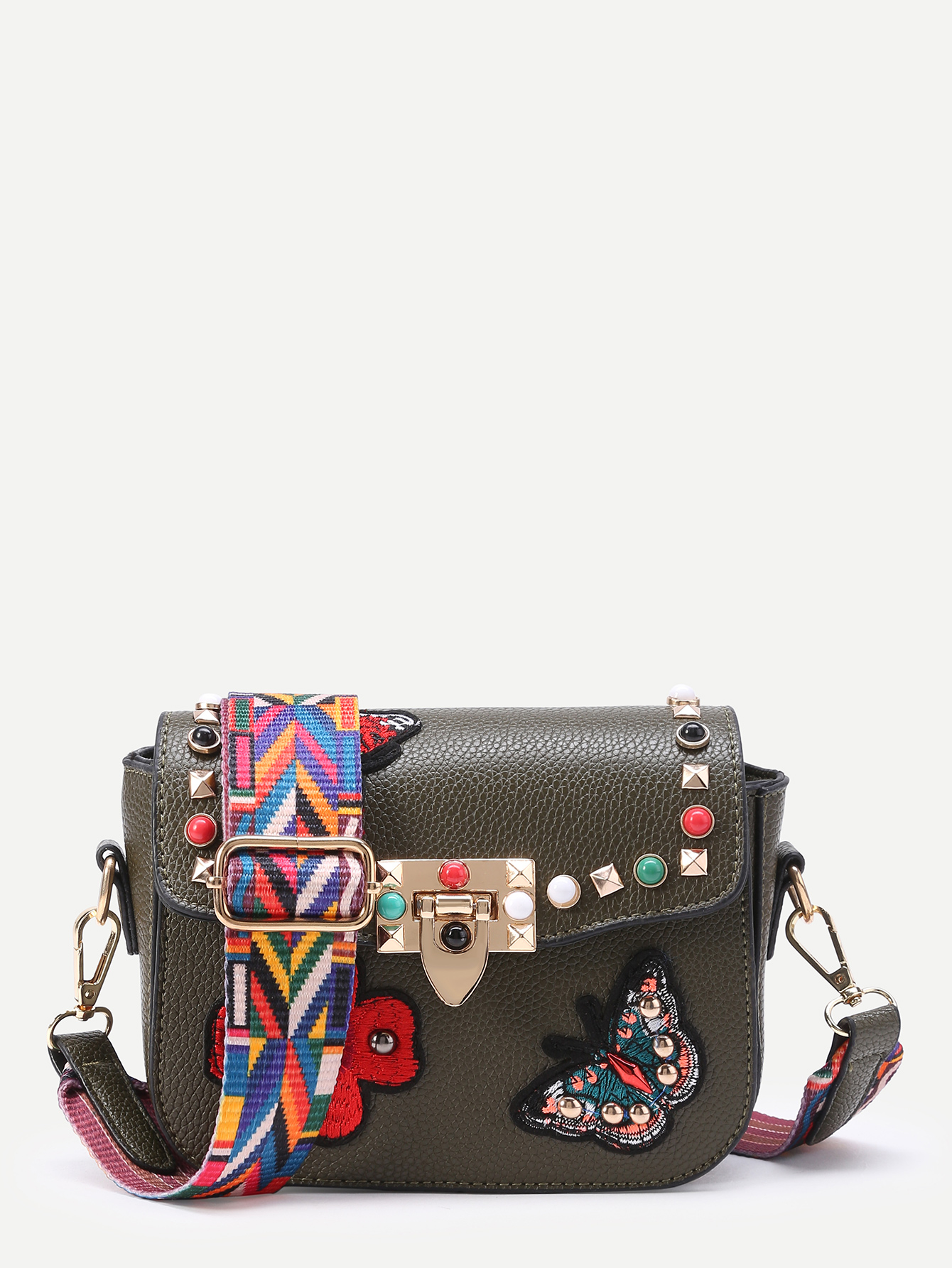 Studded And Butterfly Embroidery Shoulder Bag -SheIn(Sheinside)