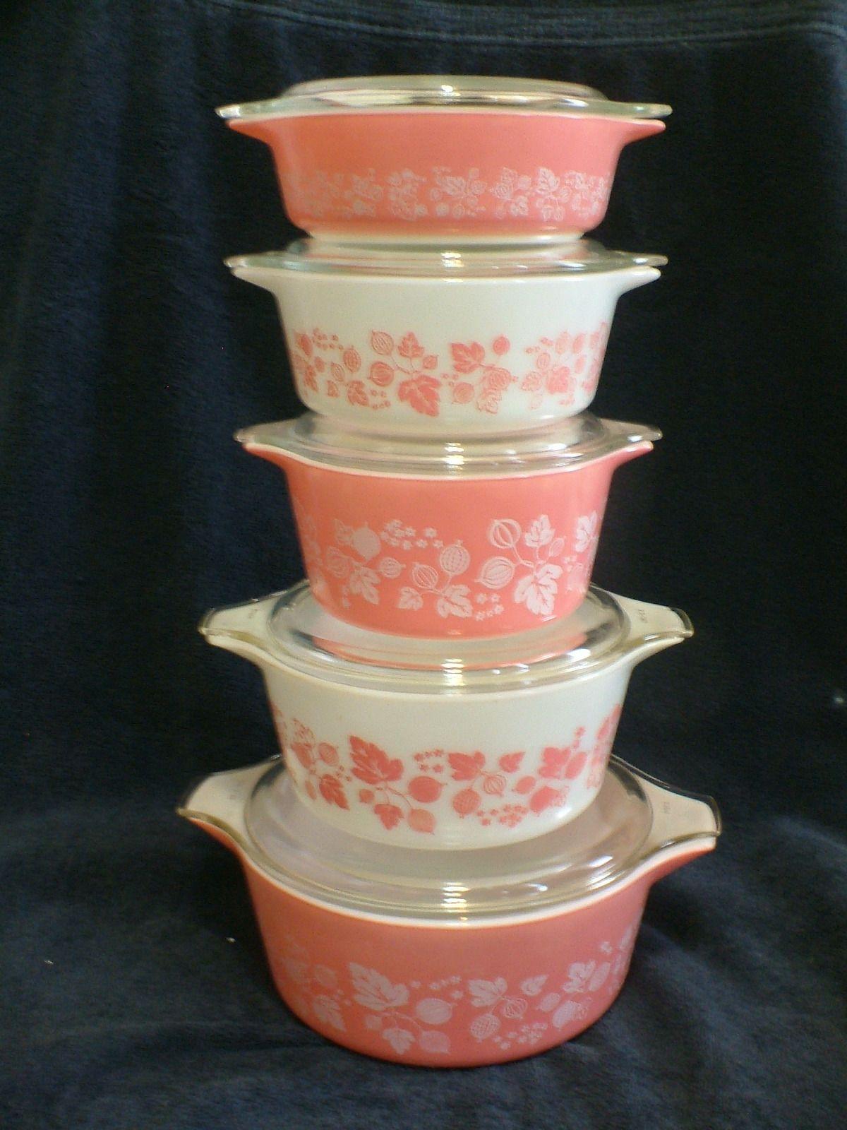 10 Pcs Vintage Pyrex Pink Gooseberry Casseroles And Lids