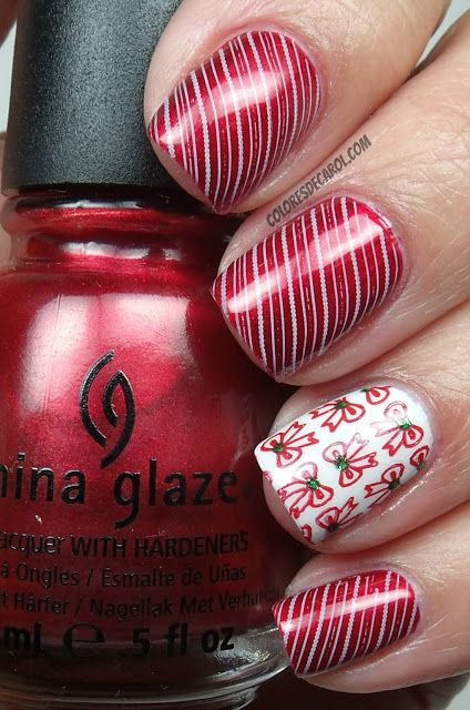 "Colores de Carol: China Glaze - ""Cranberry Splash"" with stamped Christmas ribbons accent nail!"
