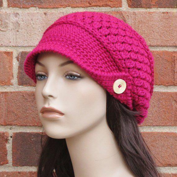 CROCHET HAT PATTERN Instant Download Pdf - Finley Newsboy Slouchy Brimmed  Beanie Hat Womens - Permis baa4ce635d4