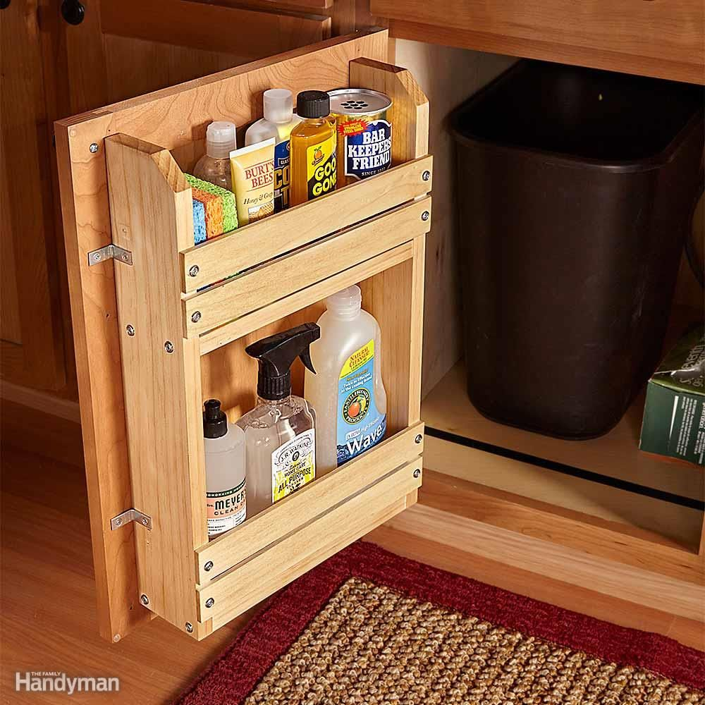 Hereu0027s a simple project to bring order to the chaos a door-mounted storage rack. You can modify this basic idea to organize other cabinets too. & 18 Inspiring Inside-Cabinet Door Storage Ideas | Door storage ...