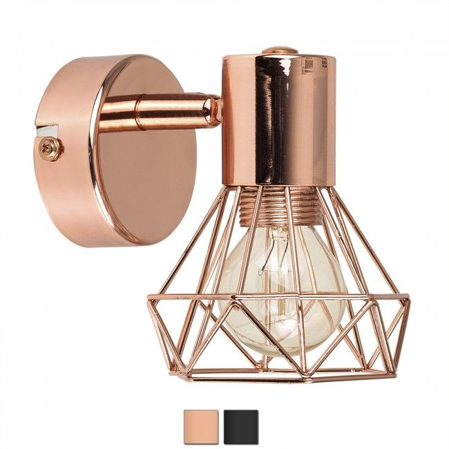 Industrial style angus basket wall light copper colour tab iconic lights