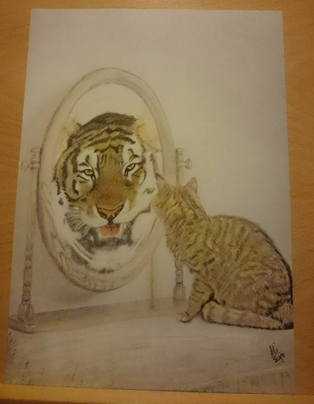 Cat/Tiger in mirror Available for sale Sketch only £20 Framed in A4 ...