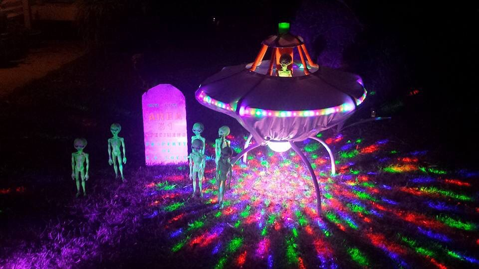 Treat yourself to our list. Alien Invasion Yard Display By Dave Lemire Constructed From An Old Outdoor Table Pvc Silver Fabric Halloween Party Night Alien Halloween Outdoor Halloween