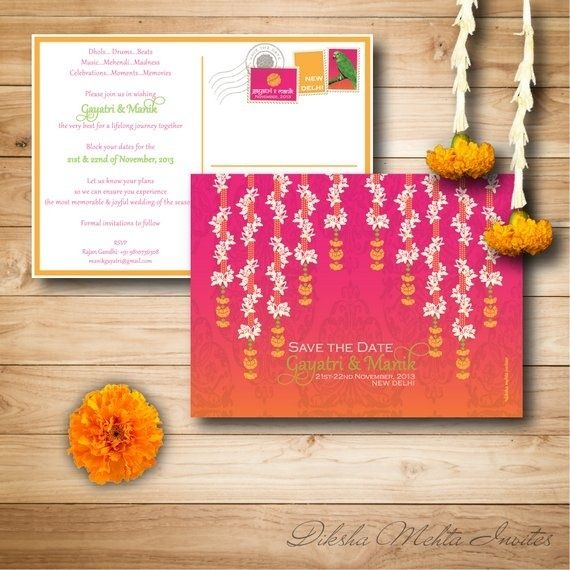 Pink And Orange Shaded Wedding Cards Candid Photographers And
