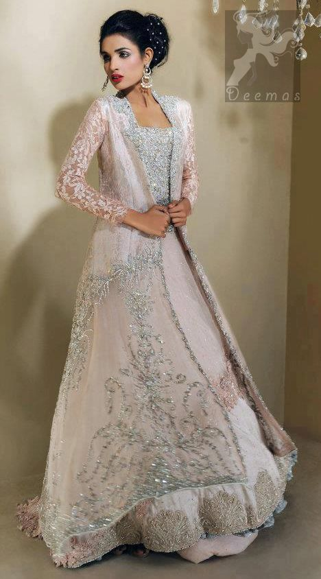 Light Pink Bridal Dress - Front Open Gown Back Trail - Embroidered ...
