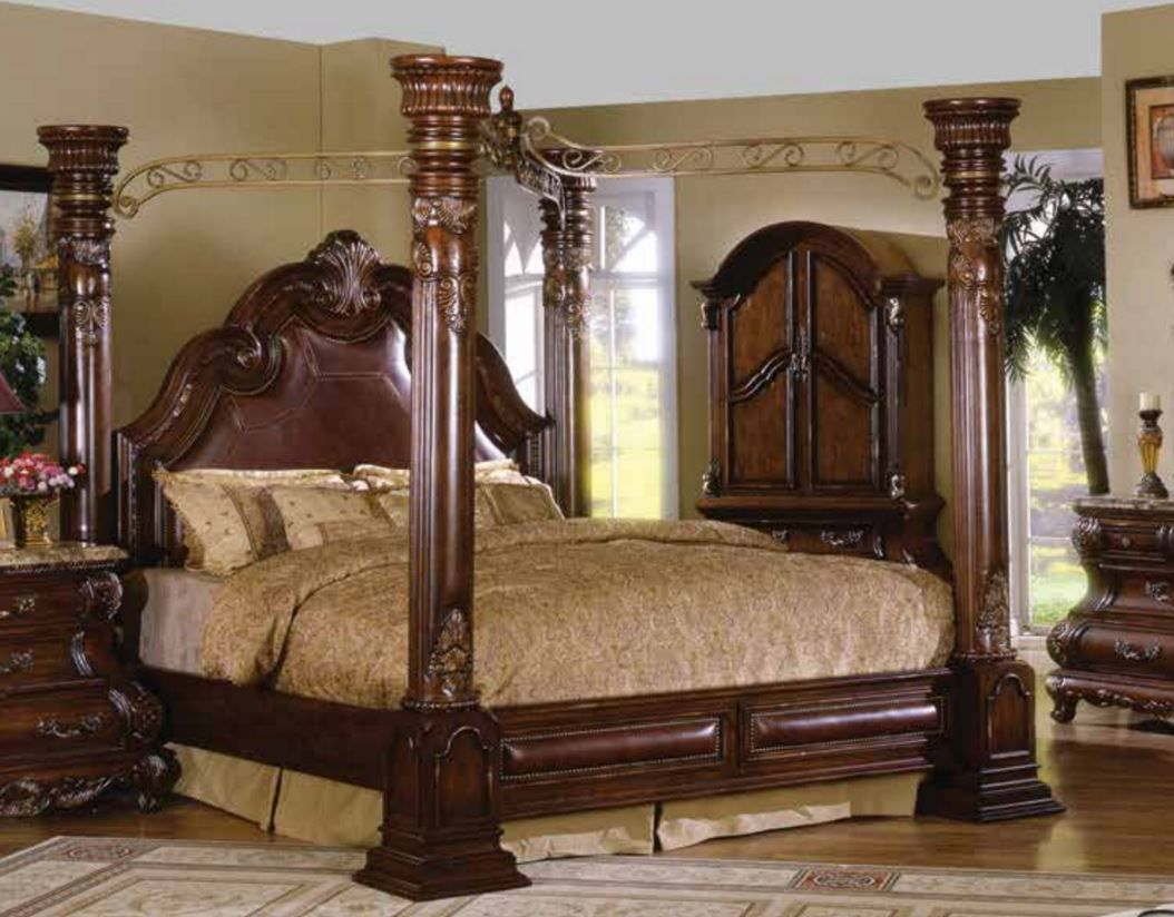 Gothic canopy bed for halloween decoration ideas  Grand Canopy Bed With King Size Bedcover And Nightstand With Collie Table L&s And Vanity Dresser With ... & Caledonian Traditional Dark Brown Cherry California King Poster ...