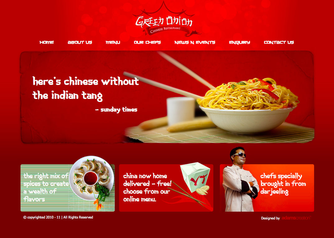 Green Onion Chinese Restaurant Food Web Design Food Website Food Website Design