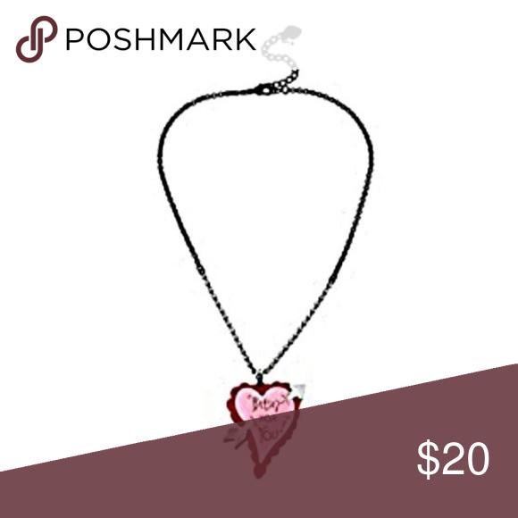 Betsey Johnson Plexi Heart Arrow Pendant Necklace Arrow Pendant Necklace Arrow Pendant Pink Heart Pendant