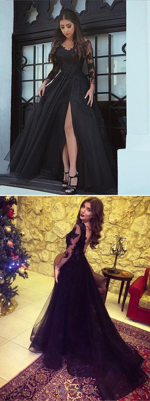 Black prom dresses long prom dresses lace prom dresses a