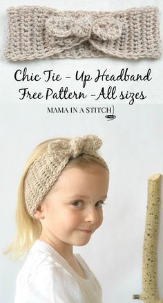 Naturally Chic Tie-Up Crochet Headband Pattern - so easy and sweet! #free pattern #crafts #diy from Mama In A Stitch Blog