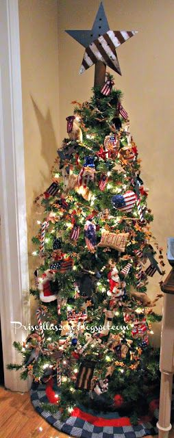 The Scrapbook Tree And The Americana Tree Patriotic Christmas Tree Christmas Vignettes Holiday Tree