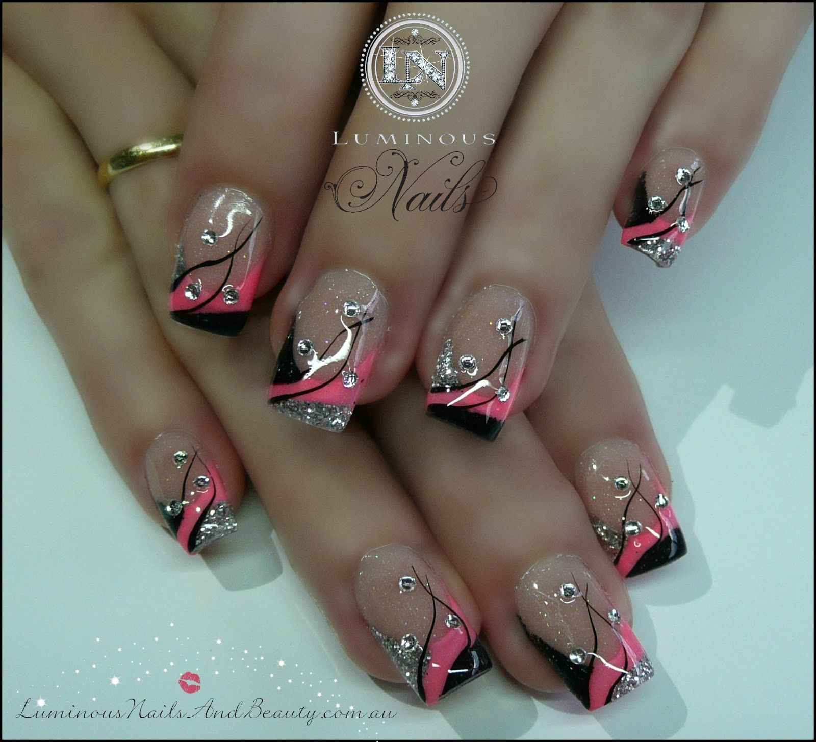 Pink and silver nails - Hot Pink And Black Nails Pink Black Silver Nails With Bling Sculptured Acrylic With Neon